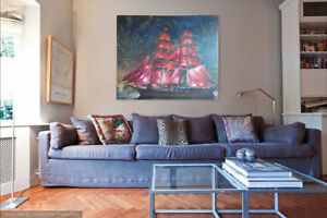 "47''X39'' Oil Painting Original Art on Canvas ""Scarlet Sails"""