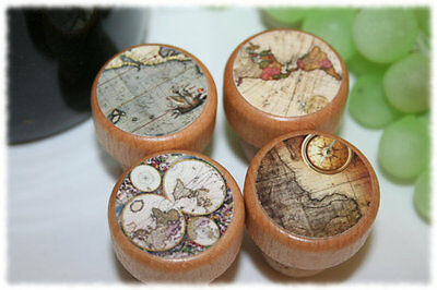 Antique World Map Wine Stoppers- Old World Wine Stopper- Globe Wine Stopper ()