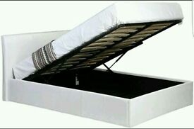 WHITE FAUX LEATHER OTTOMAN DOUBLE BED
