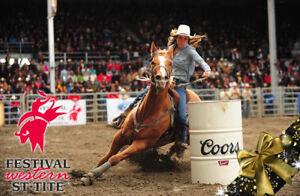2 billets pour rodeo au Festival Western de Ste-Tite