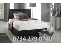 "Double LEATHER or FABRIC DIVAN BED SET + 10"" MEM O RY MATTRESS + HEADBOARD / FREE DELIVERY"