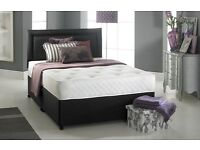 "MEMORY FOAM DIVAN BED SET + 10"" LUXURY DUAL MATTRESS+ HEADBOARD SIZE 3FT SINGLE 4FT6 DOUBLE 5FT KING"
