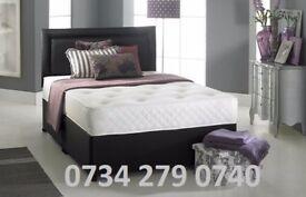 "DOUBLE DIVAN BED SET + MEMORY FOAM 10"" DUAL MATTRESS+ PLAIN HEADBOARD SIZE 3FT 4FT6 5FT KING"