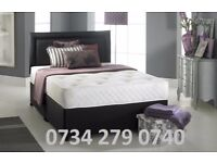 BRAND NEW DIVAN BEDS AVAILABLE INC MEMORY FOAM SPRUNG MATTRESS+ PLAIN HEADBOARD ALL SIZES