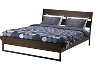Brown double bed wooden bed frame with mattress