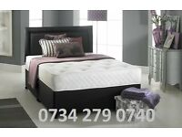 Insignia Double Divan Bed with Spring Memory Foam Mattress and Plain Matching Headboard