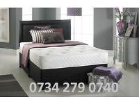 Luxury Divan Bed Set with Hand Tufted Dual Mem O ry Foam Mattress and Matching Plain Headboard
