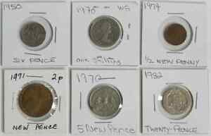 Lot of 6 Assorted British Coins