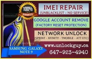 SAMSUNG GALAXY NOTE 9 *NO SERVICE* *UNREGISTERED SIM* *NETWORK FIX* | GOOGLE ACCOUNT REMOVE | SPRINT & T-MOBILE UNLOCK