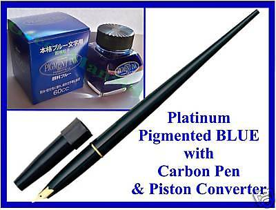 Platinum Carbon Pen & BLUE Pigmented Ink Waterproof NEW