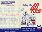 Football 1962 Vintage Sports Schedules