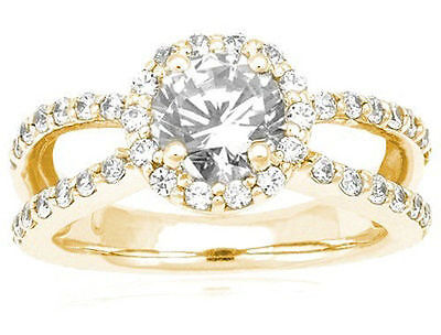2 ct total, 1.36 ct Round Diamond Halo Wedding 14k Yellow Gold Ring GIA H VS2