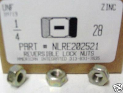 - 1/4-28 Hex Reversible Lock Nuts Steel Zinc Plated (100)