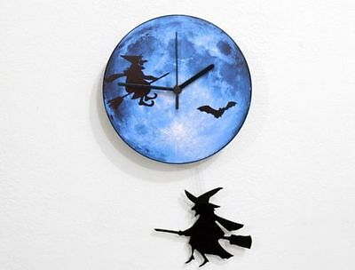 Halloween Witch Swinging on the Moon with bats- Pendulum Wall Clock - Halloween Bats On Wall