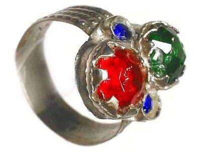 74522423220e 18thC Byzantine Silver Ring Ruby Red Emerald Green Sapphire Blue Glass Gems  Sz10
