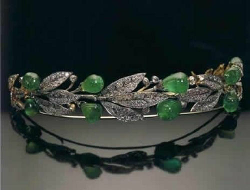 Victorian 9.30 Ctw Rose Cut Diamond Emerald Drop Sterling Silver Weeding Tiara