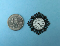 1:12 Scale Dollhouse Miniature Decorative Black Metal Scrolled Wall Clock #S3585
