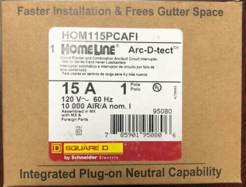 10PCS Square D Homeline HOM115PCAFI HOM115PCAFIC 15A 1 Pole AFCI Circuit Breaker