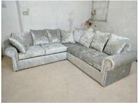 Large Silver Corner Crushed Velvet Sofa-Sale on Silver Corner Sofa-Free Delivery
