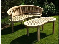 Curved solid teak deluxe set for conservatory,patio or garden