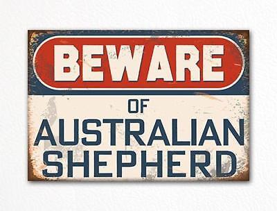 Beware Of Australian Shepherd Dog Breed Cute Fridge Magnet