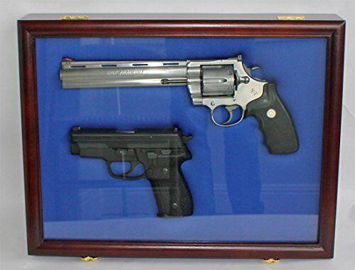 Airsoft Handgun Display Case with Lockable Glass Door & Foam Inside - Mahogany