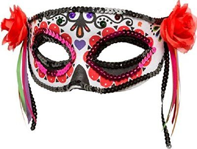 Damen Halloween Mexikanisch Tag der Toten Blumenmuster Maskenkostüm Augen Maske