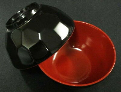 2x Black/Red Plastic Rice Miso Soup Bowls 4.75in #920-BR S-2373x2