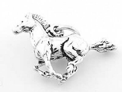 - STERLING SILVER HORSE STALLION MUSTANG  3D SOLID CHARM