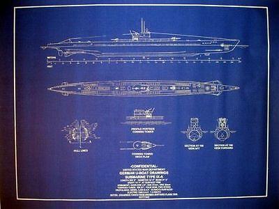 "WW2 Submarine German UBoat Type IX-A 1939 Blueprint Plans 24"" x 31"" (108)"