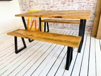 Tapered Leg Industrial Dining Table / Bench Sets - Any RAL Colour Powder Coating!