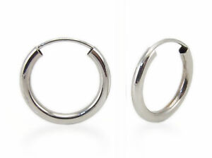 Classic Style! 100% 14K White Gold Plain Endless Hoop Earrings - 15 x 2mm