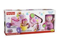 BNIB Fisher price brilliant basics roll along musical pony with doll
