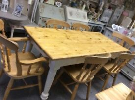 Very old solid farmhouse bakers table with optional extra of chairs