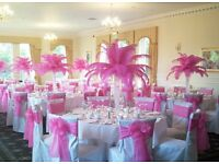 Weddings With Wings, Feather centre table displays, church/ ceremony decor and more.