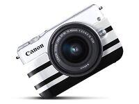 Canon EOS M10 camera cover black and white stripe