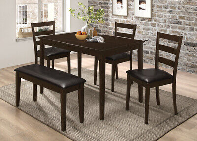 5-Piece Dining Dinette Set With Bench Cappuccino And Dark Brown