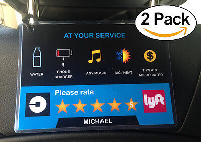 Uber Lyft 5 Star Ratings Sign Car Display Cards   Custom Messages   Name