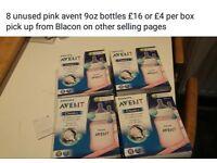 8 unused Pink Avent 9oz bottles