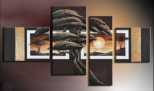 4028- Landscape, Hand made, Oil painting on Canvas 4 Panels