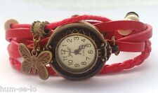 FLORAL DIAL VINTAGE BRACELET WATCH FOR WOMEN - RED