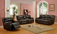 3PC BONDED LEATHER RECLINER SOFA SET $1898