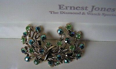 BEAUTIFUL VINTAGE 1950'S VERY SPARKLY GREEN AURORA BOREALIS FLOER BROOCH