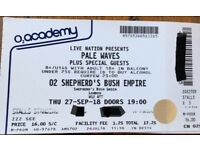 1 standing ticket for Pale Waves @ Shepherds Bush Empire 27/09/18 for sale