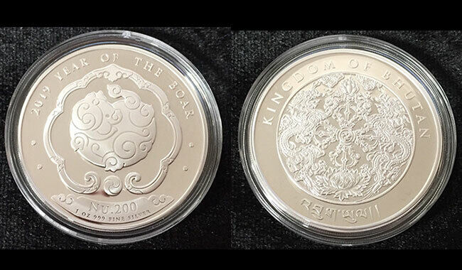 BHUTAN 2019 SILVER 1 OZ. COIN LUNAR YEAR of PIG