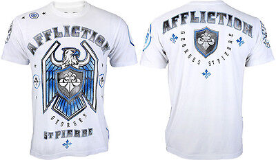 AFFLICTION Men T-Shirt ROYAL GUARD Georges St Pierre WHITE Fight Gym MMA UFC $58