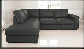 BRAND NEW WEST POINT LEATHER CORNER SOFA SUITE IN LEFT OR RIGHT ARM BLACK COLOUR