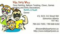 FACE PAINTING, BALLOON TWISING, CLOWN,GAMES,HOSTING,DECORATIONS