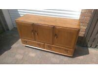 Vintage Mid Century ERCOL WINDSOR 468 Blue Label Elm Sideboard Room Divider