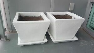 """Two 16"""" White (Painted) Terra Cotta Planters ( very heavy)"""